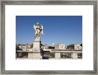 Bernini Statue On The Ponte Sant Angelo. Rome Framed Print by Bernard Jaubert