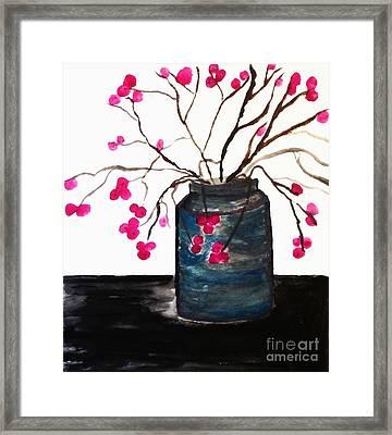 Berries In A Jar Framed Print by Marsha Heiken