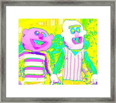 Bert And Ernie Hold Hands Framed Print
