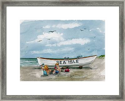 Framed Print featuring the painting Best Buddies In Sea Isle  by Nancy Patterson
