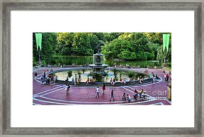 Bethesda Fountain Overlooking Central Park Pond Framed Print by Paul Ward
