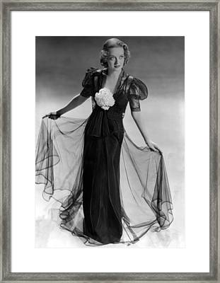 Bette Davis Wearing Black Taffeta Gown Framed Print by Everett
