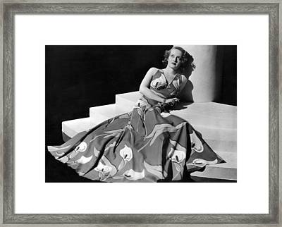 Bette Davis Wearing Gown With Calla Framed Print by Everett
