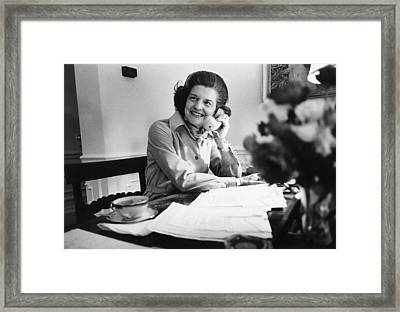Betty Ford Works At Her Desk Situated Framed Print