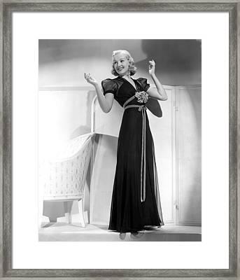 Betty Grable In Black Chiffon Dinner Framed Print by Everett