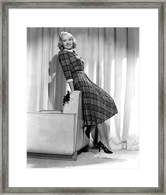Betty Grable In Plaid, Pleated Sports Framed Print by Everett