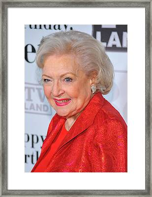 Betty White At Arrivals For Betty Framed Print by Everett