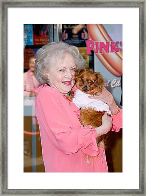 Betty White, Dog At A Public Appearance Framed Print by Everett