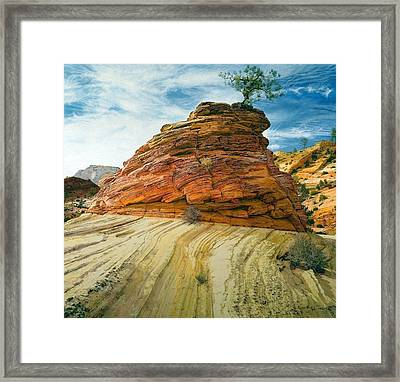 Between A Rock And A Soft Place Framed Print by Robert Keller