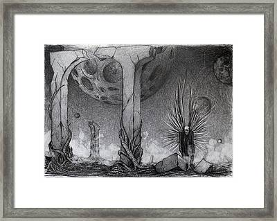 Framed Print featuring the drawing Between  by Mariusz Zawadzki
