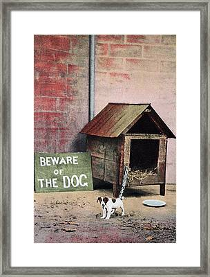 Beware Of Dog Sign With Small Dog Framed Print
