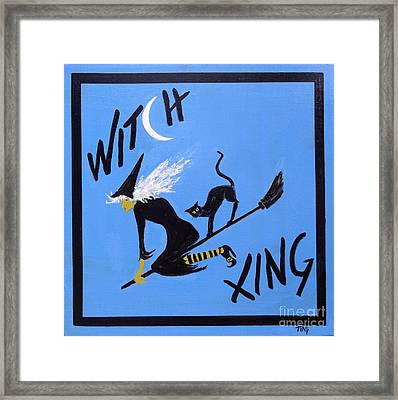 Framed Print featuring the painting Beware Witch Crossing by Doris Blessington