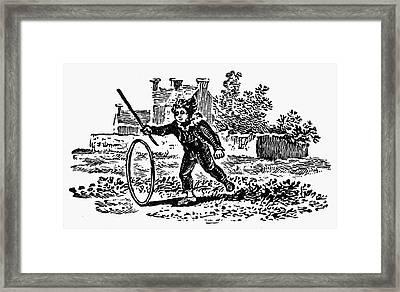 Bewick: Boy With Hoop Framed Print by Granger