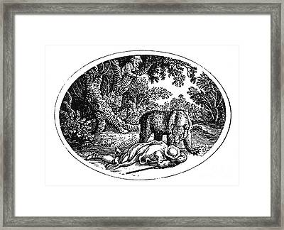 Bewick: Man And Bear Framed Print by Granger