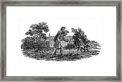 Bewick: Man Carrying Man Framed Print
