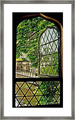 Beyond The Castle Window Framed Print by Julie Clements