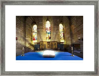 Bible In Church Framed Print