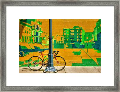 Bicycle And Mural Framed Print by Steven Ainsworth