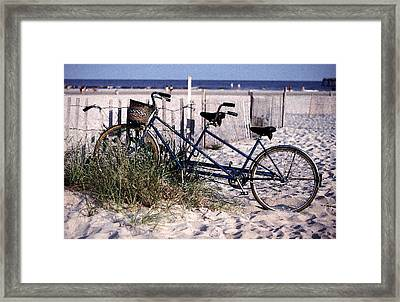 Bicycle Built For Two On A Beach Framed Print by Ercole Gaudioso