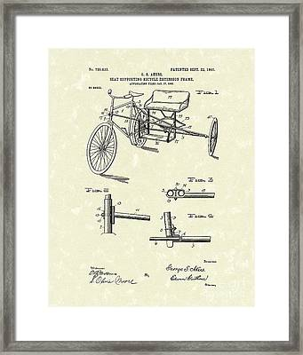 Bicycle Extension Frame 1903 Patent Art Framed Print by Prior Art Design