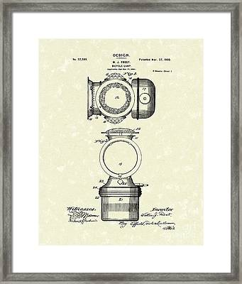 Bicycle Lamp Design 1900 Patent Art Framed Print by Prior Art Design
