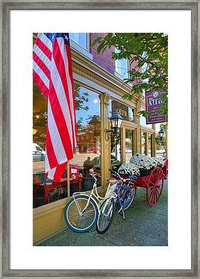 Bicycles And Storefront Framed Print
