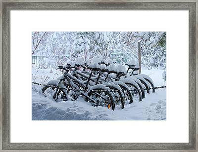 Bicycles In The Snow Framed Print