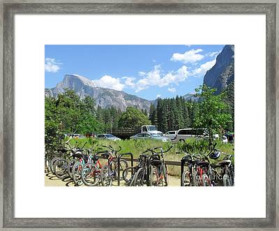 Framed Print featuring the photograph Bicycles Yosemite by Beth Saffer