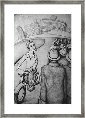 Bicyclist Framed Print by Louis Gleason