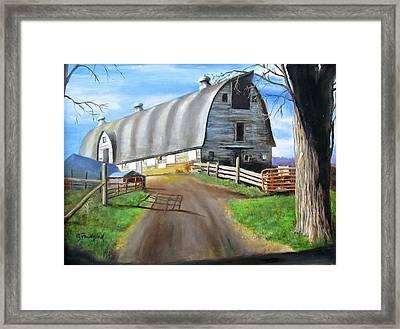 Framed Print featuring the painting Big Barn At Kripplebush by Oz Freedgood