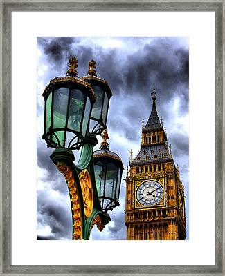 Big Ben And Lamp - Hdr Framed Print by Colin J Williams Photography