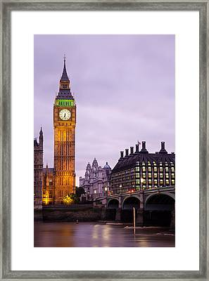 Big Ben In Twilight Framed Print by Adam Pender