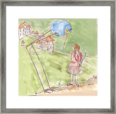 Big Blue Bird Framed Print by Adder Rathbone