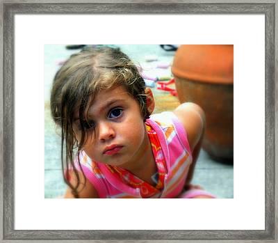 Big Brown Eyes Framed Print by Karen Wiles