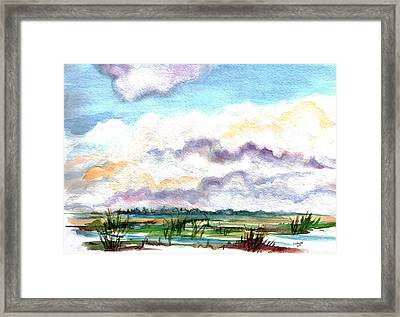 Framed Print featuring the painting Big Clouds by Clara Sue Beym