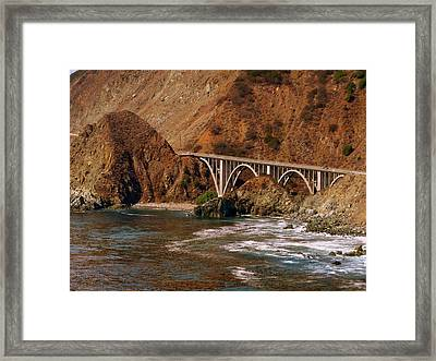 Big Creek Bridge Close Framed Print by Jeff Lowe