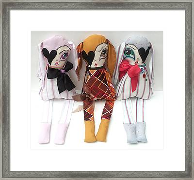 Big Eye Bunny Trio Framed Print by Oddball Art Co by Lizzy Love