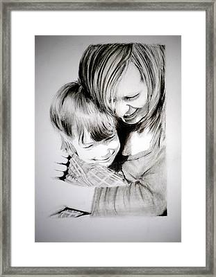 Framed Print featuring the drawing Big Hug by Lynn Hughes