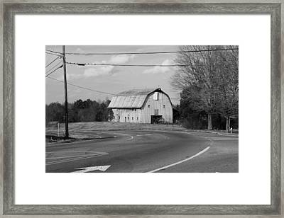 Big Metal Barn In The Curve Framed Print by Bob Whitt
