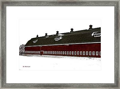 Big Red Barn In Winter Framed Print by Edward Peterson