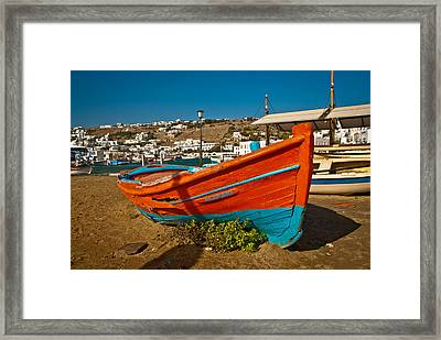 Big Red Boat On The Sand Framed Print by Preston Coe