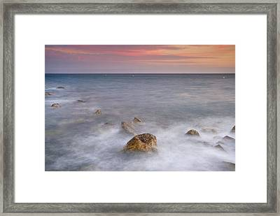 Big Rock Against The Waves Framed Print by Guido Montanes Castillo