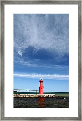 Big Sky Over Algoma Lighthouse Framed Print by Mark J Seefeldt