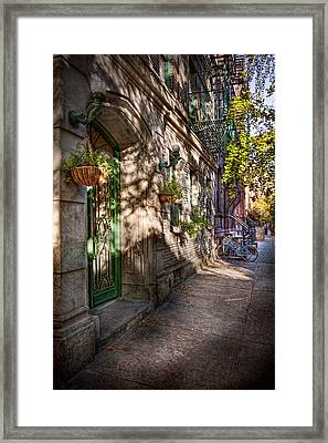 Bike - Ny - Greenwich Village - The Green District Framed Print by Mike Savad