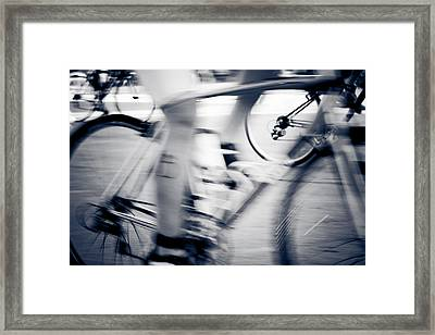 Bike Race Black And White Framed Print by Anthony Doudt