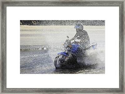 Biker  Making A Splash Framed Print by Kantilal Patel