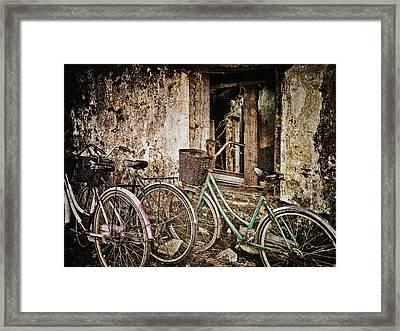 Bikes And A Window Framed Print