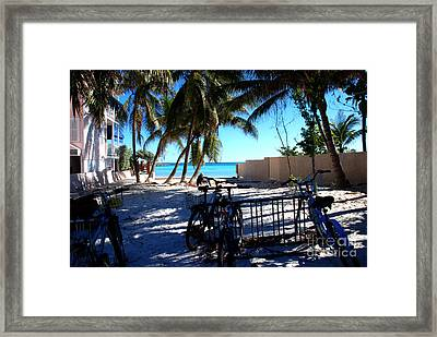 Bikes At Dogs Beach In Key West Framed Print