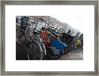 Framed Print featuring the digital art Bikes In Amsterdam by Carol Ailles