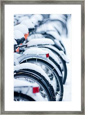 Framed Print featuring the photograph Bikes In Snow by Andrew  Michael